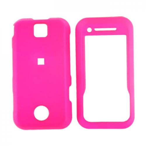 Motorola Rival A455 Rubberized Hard Case - Hot Pink