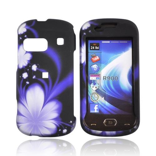Samsung Craft R900 Rubberized Hard Case - Purple Flowers on Black