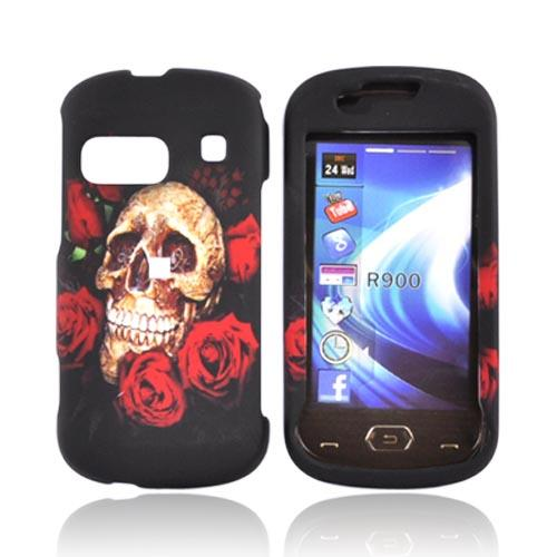 Samsung Craft R900 Rubberized Hard Case - Red Roses and Skull on Black