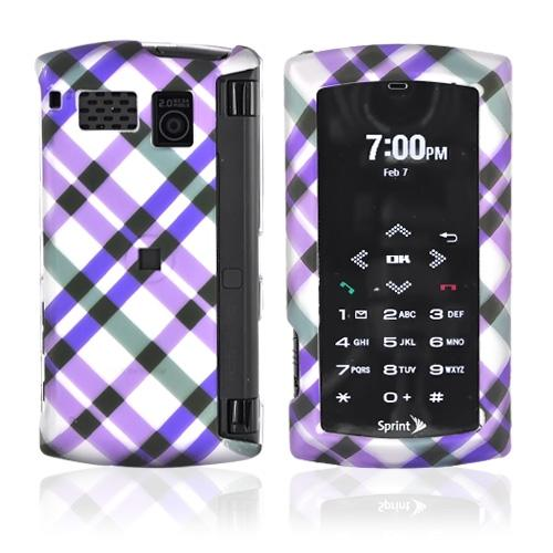 Sanyo Incognito 6760 Rubberized Hard Case - Checkered Design of Purple and Green on Silver