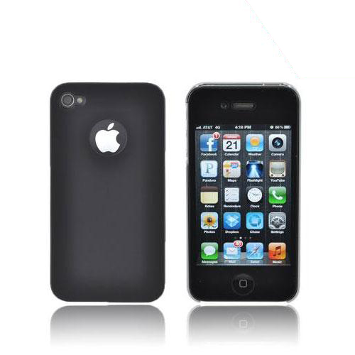 Apple iPhone 4 Rubberized Back Cover - Black/ Silver