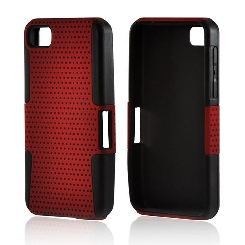 Red Mesh on Black Silicone Hybrid Case for BlackBerry Z10