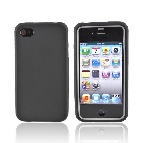 AT&T/Verizon Apple iPhone 4, iPhone 4S Rubberized Hard Case over Silicone - Black/Gray