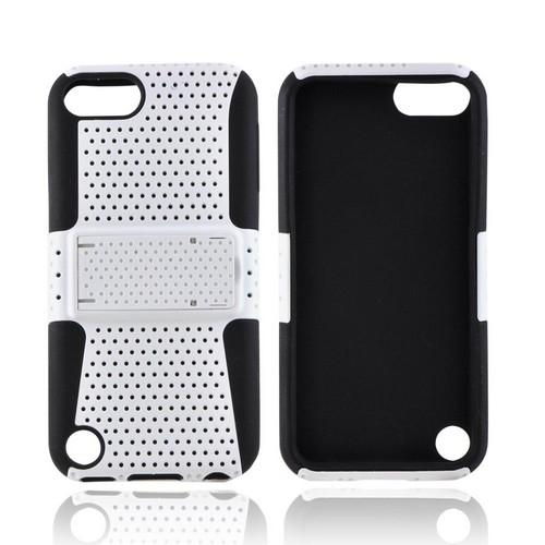 Apple iPod Touch 5 Rubberized Hard Case Over Silicone w/Stand - White Mesh on Black