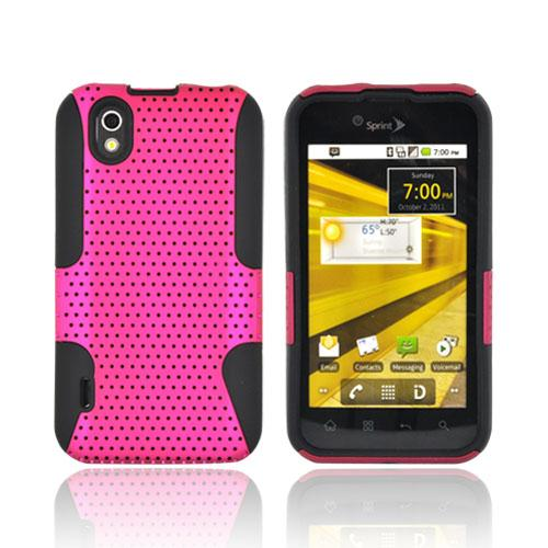 LG Marquee LS855 Rubberized Hard Case Over Silicone - Hot Pink Mesh on Black