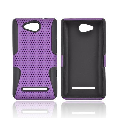 LG Lucid 4G Rubberized Hard Case Over Silicone - Purple Mesh on Black