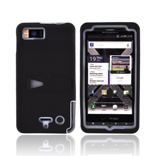Motorola Droid X2 MB870 Rubberized Hard Case w/ Stand & Silicone Case - Frost White/ Black