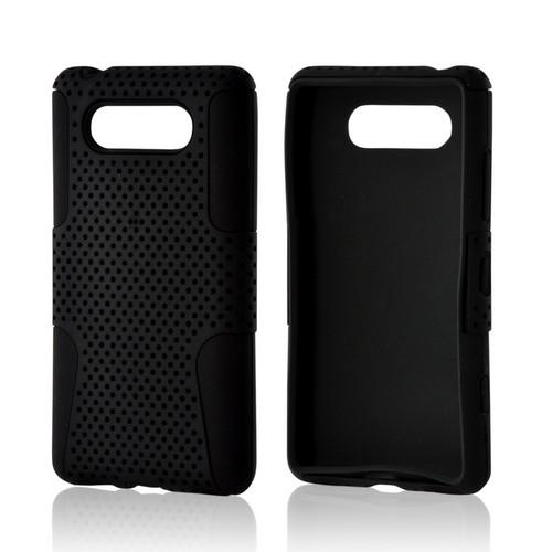 Black Mesh on Black Rubberized Hard Cover on Silicone for Nokia Lumia 820