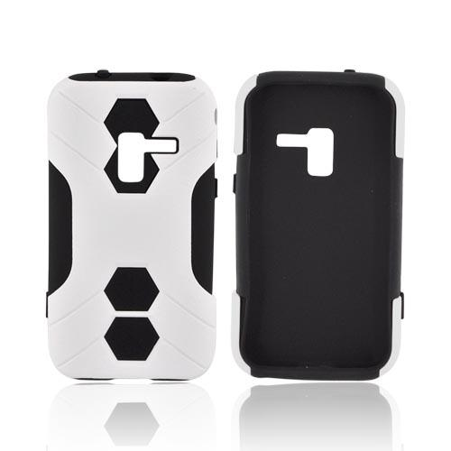 Samsung Conquer 4G Rubberized Hard on Silicone Case - White/ Black
