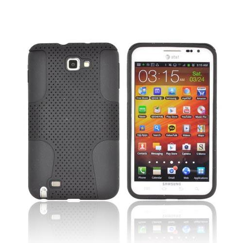 Samsung Galaxy Note Rubberized Hard Case Over Silicone - Black Mesh on Black