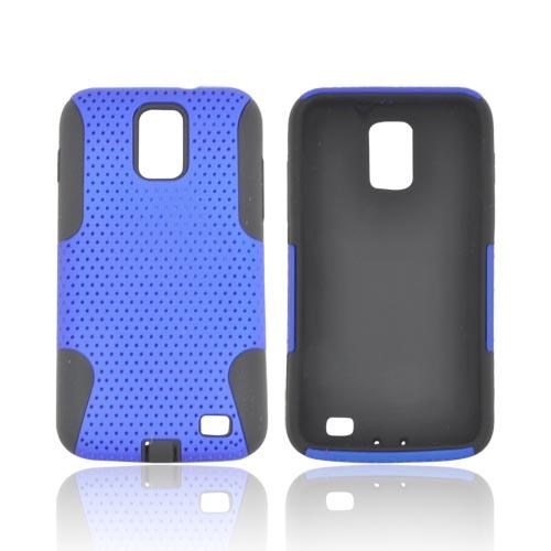 Samsung Galaxy S2 Skyrocket Rubberized Hard Case Over Silicone - Blue Mesh on Black