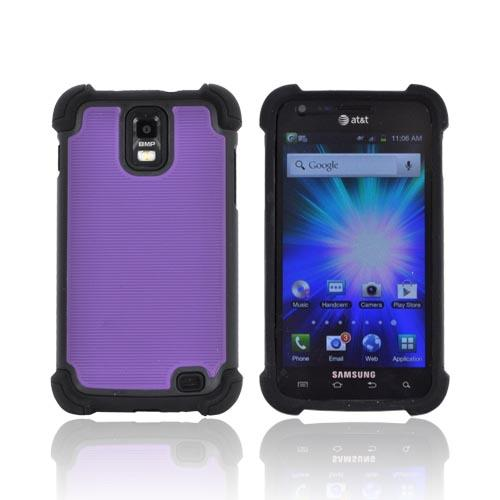 Samsung Galaxy S2 Skyrocket Perforated Hybrid Hard Cover Over Silicone Case - Purple/ Black