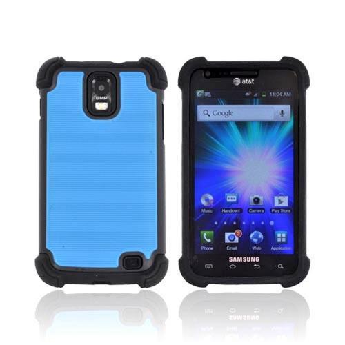Samsung Galaxy S2 Skyrocket Perforated Hybrid Hard Cover Over Silicone Case - Sky Blue/ Black