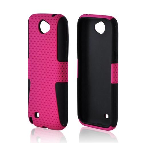 Samsung Galaxy Note 2 Rubberized Hard Case Over Silicone - Hot Pink Mesh on Black
