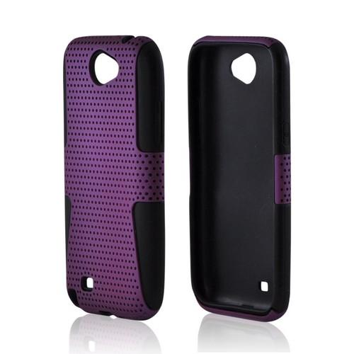 Samsung Galaxy Note 2 Rubberized Hard Case Over Silicone - Purple Mesh on Black