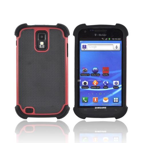 T-Mobile Samsung Galaxy S2 Perforated Hybrid Hard Cover Over Silicone Case - Black/ Red