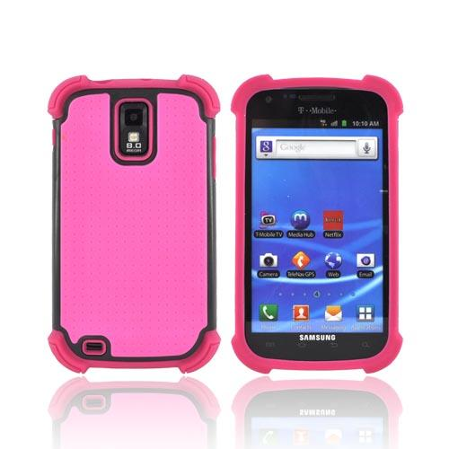 T-Mobile Samsung Galaxy S2 Perforated Hybrid Hard Cover Over Silicone Case - Hot Pink/ Black