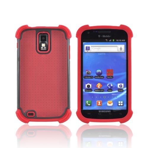 T-Mobile Samsung Galaxy S2 Perforated Hybrid Hard Cover Over Silicone Case - Red/ Black
