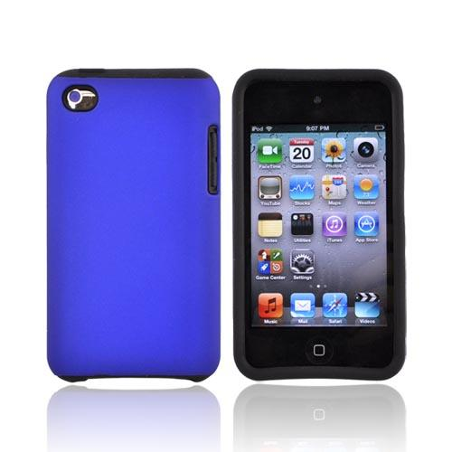 Luxmo Apple iPod Touch 4 Rubberized Hard Case w/ Silicone Case - Black/Blue