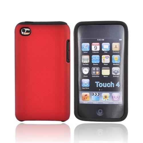 Luxmo Apple iPod Touch 4 Rubberized Hard Case w/ Silicone Case - Red/Black