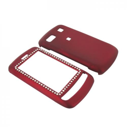 LG Xenon GR500 Rubberized Hard Case w/ Gems - Red
