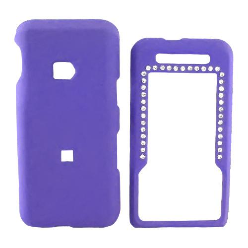 MetroPCS ZTE C70 Rubberized Hard Case w/ Gem - Purple