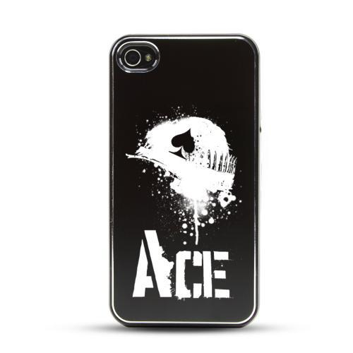 Apple iPhone 4/4S Rubberized Hard Case w/ Black Aluminum Back - Ace Helmet
