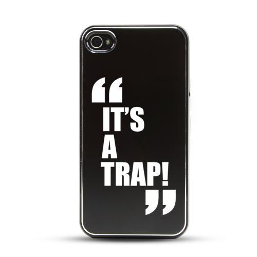 Apple iPhone 4/4S Rubberized Hard Case w/ Black Aluminum Back - It's a Trap!