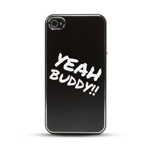 Apple iPhone 4/4S Rubberized Hard Case w/ Black Aluminum Back - Yeah Buddy!