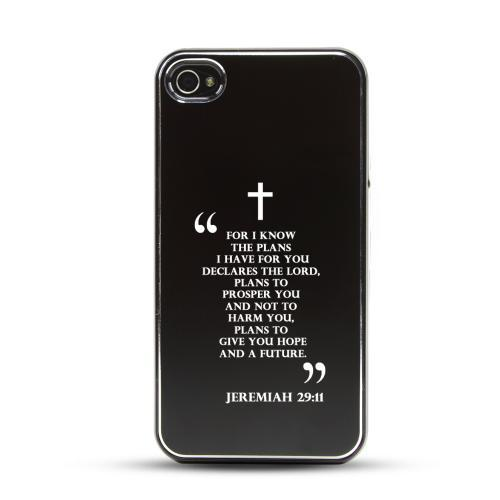 Apple iPhone 4/4S Rubberized Hard Case w/ Black Aluminum Back - Jeremiah 29:11