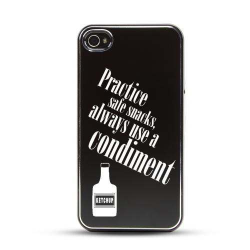 Apple iPhone 4/4S Rubberized Hard Case w/ Black Aluminum Back - Practice Safe Snacks