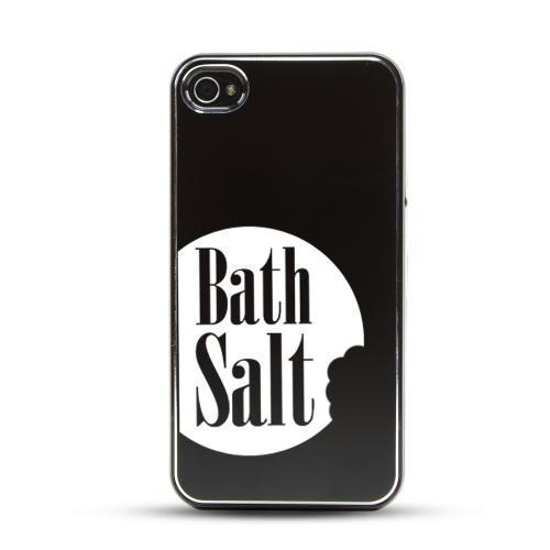 Apple iPhone 4/4S Rubberized Hard Case w/ Black Aluminum Back - Bath Salt Bite