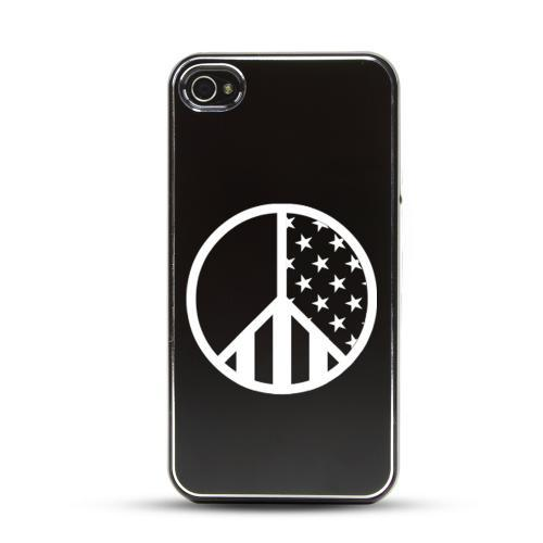 Apple iPhone 4/4S Rubberized Hard Case w/ Black Aluminum Back - U.S. Peace Sign