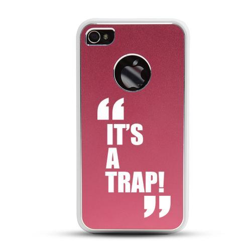 Apple iPhone 4/4S Rubberized Hard Case w/ Red Aluminum Back - It's a Trap!