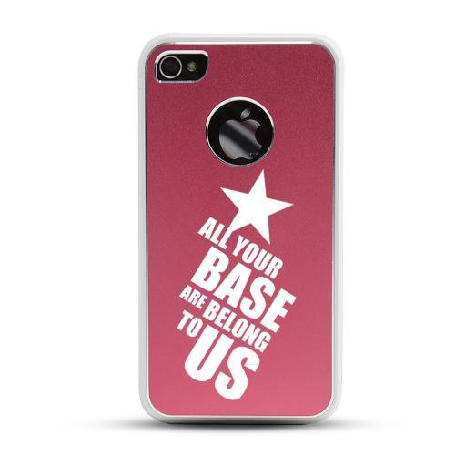Apple iPhone 4/4S Rubberized Hard Case w/ Red Aluminum Back - All Your Base Are Belong To Us
