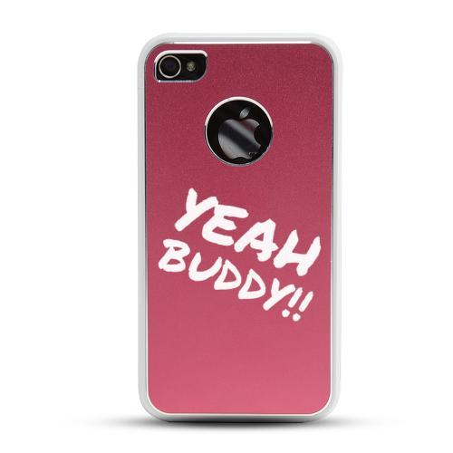 Apple iPhone 4/4S Rubberized Hard Case w/ Red Aluminum Back - Yeah Buddy!