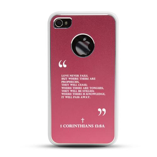 Apple iPhone 4/4S Rubberized Hard Case w/ Red Aluminum Back - 1 Corinthians 13:8A