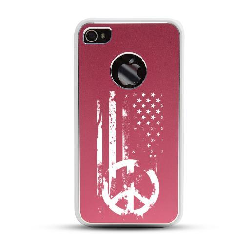 Apple iPhone 4/4S Rubberized Hard Case w/ Red Aluminum Back - Grunge Flag