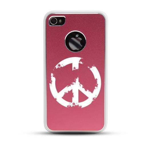 Apple iPhone 4/4S Rubberized Hard Case w/ Red Aluminum Back - Grunge Peace Sign