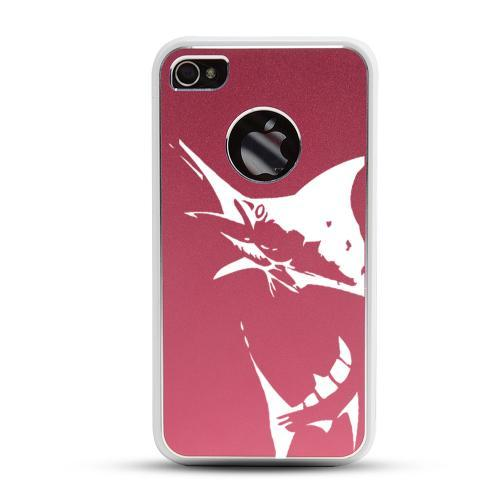 Apple iPhone 4/4S Rubberized Hard Case w/ Red Aluminum Back - Marlin 2.0