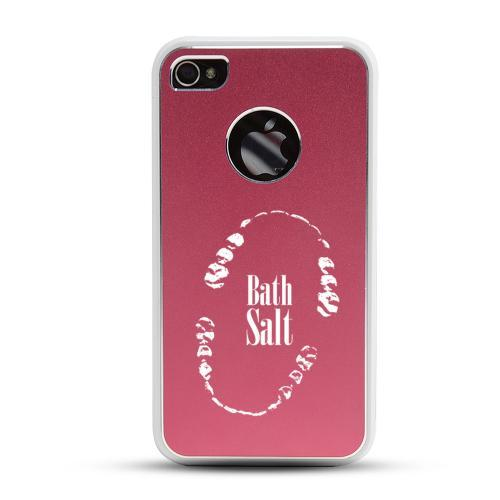 Apple iPhone 4/4S Rubberized Hard Case w/ Red Aluminum Back - Bath Salt Teeth