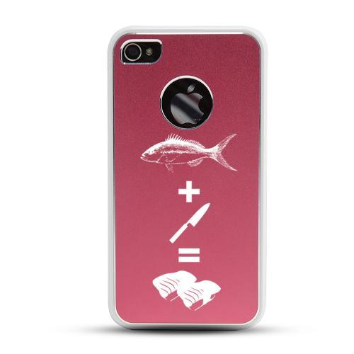 Apple iPhone 4/4S Rubberized Hard Case w/ Red Aluminum Back - Fish + Knife = Sushi