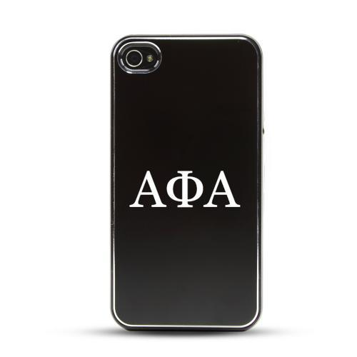Alpha Phi Alpha AT&T/ Verizon Apple iPhone 4, iPhone 4S Rubberized Hard Case w/ Black Aluminum Back & 3 Pack Universal Screen Protectors