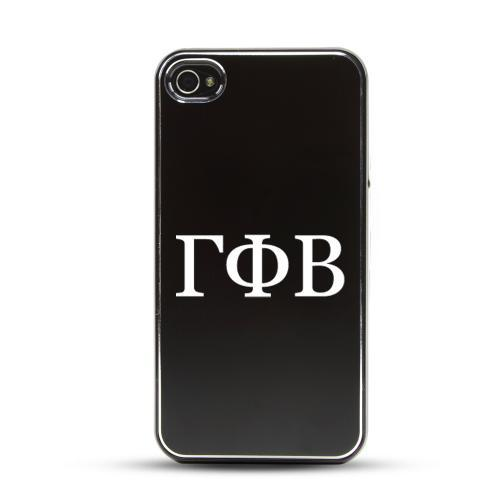 Gamma Phi Beta AT&T/ Verizon Apple iPhone 4, iPhone 4S Rubberized Hard Case w/ Black Aluminum Back & 3 Pack Universal Screen Protectors