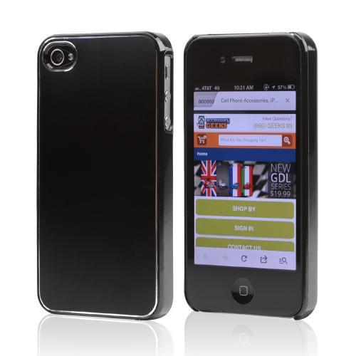 AT&T/ Verizon Apple iPhone 4, iPhone 4S Rubberized Hard Case w/ Aluminum Back - Black