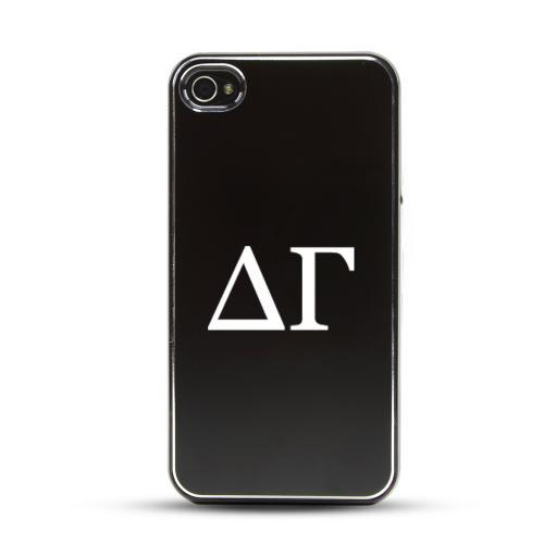 Delta Gamma AT&T/ Verizon Apple iPhone 4, iPhone 4S Rubberized Hard Case w/ Black Aluminum Back & 3 Pack Universal Screen Protectors