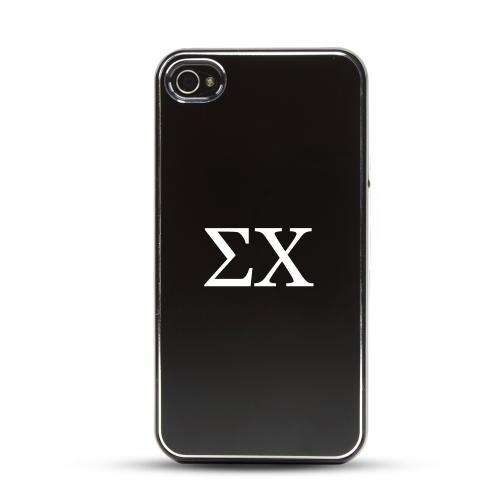 Sigma Chi AT&T/ Verizon Apple iPhone 4, iPhone 4S Rubberized Hard Case w/ Black Aluminum Back & 3 Pack Universal Screen Protectors