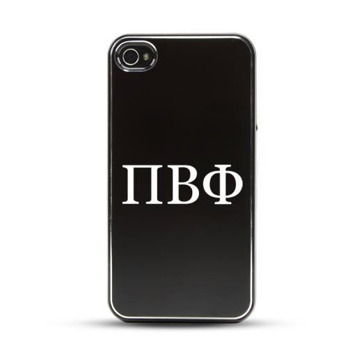Pi Beta Phi AT&T/ Verizon Apple iPhone 4, iPhone 4S Rubberized Hard Case w/ Black Aluminum Back & 3 Pack Universal Screen Protectors