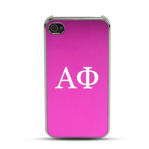 Alpha Phi AT&T/ Verizon Apple iPhone 4, iPhone 4S Rubberized Hard Case w/ Hot Pink Aluminum Back & 3 Pack Universal Screen Protectors