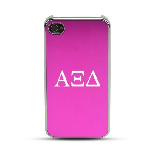 Alpha Xi Delta AT&T/ Verizon Apple iPhone 4, iPhone 4S Rubberized Hard Case w/ Hot Pink Aluminum Back & 3 Pack Universal Screen Protectors